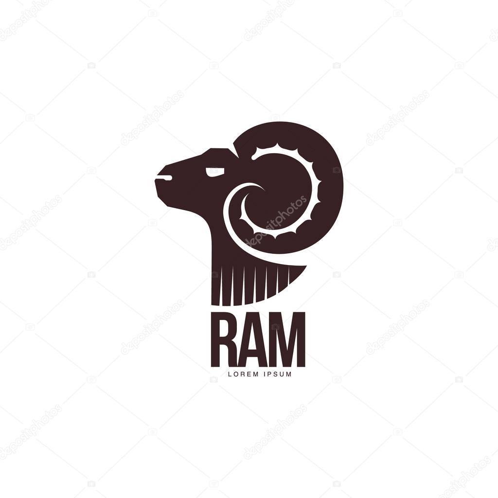 Carnero, oveja, cordero cabeza silueta gráfico logo template ...