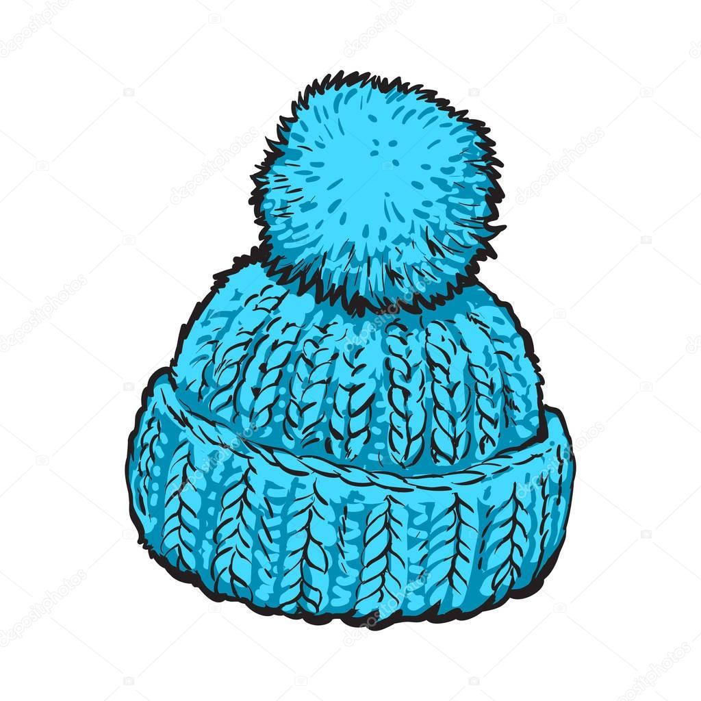 Sombrero hecho punto brillante invierno azul con pompon — Vector de ...