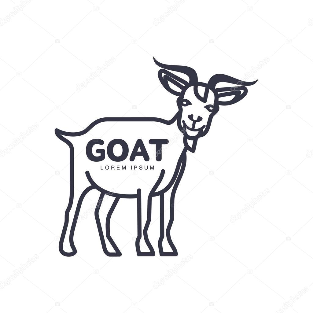 Goat head template | Goat head logo template for meat and
