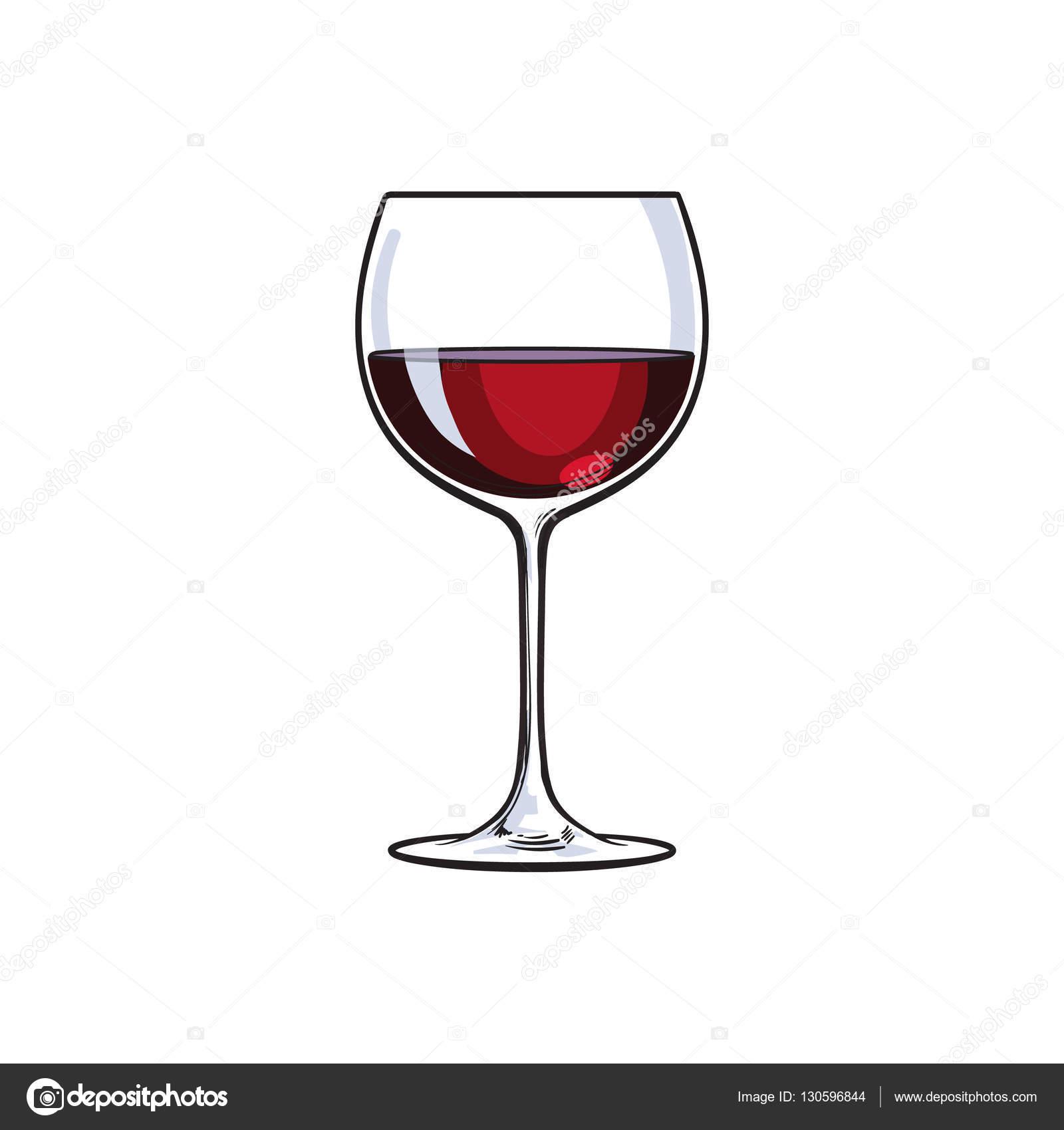 Verre de vin rouge illustration de vecteur de croquis isol sur fond blanc image vectorielle - Verre de vin dessin ...