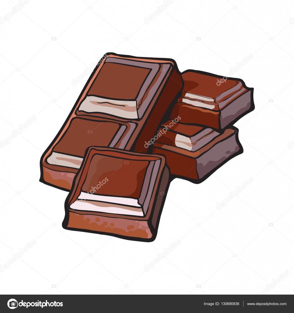 Morceaux De Chocolat Noir Bar Illustration Vectorielle
