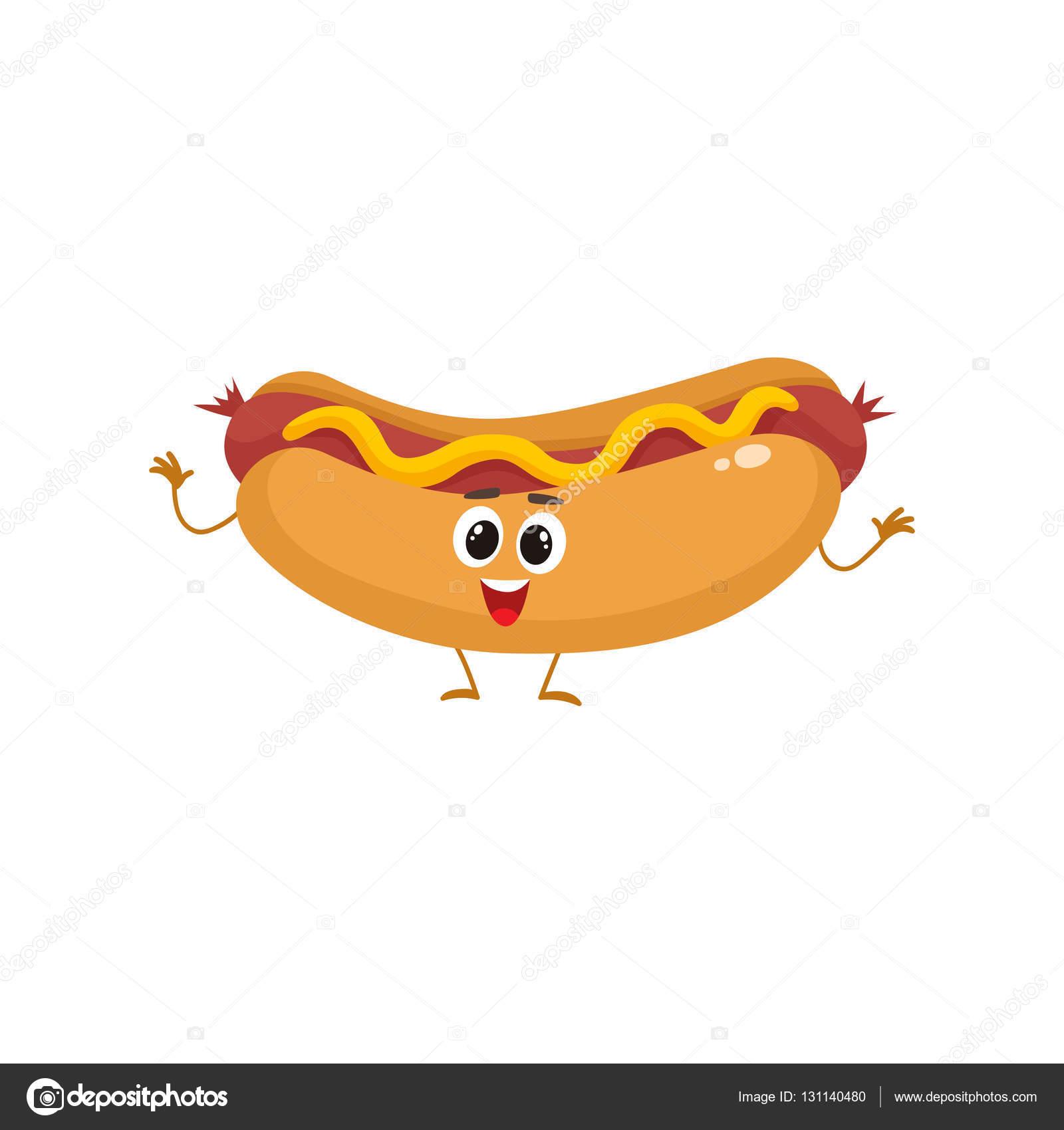Gracioso Hot Dog Comida Rápida Niños Carácter Menú Archivo