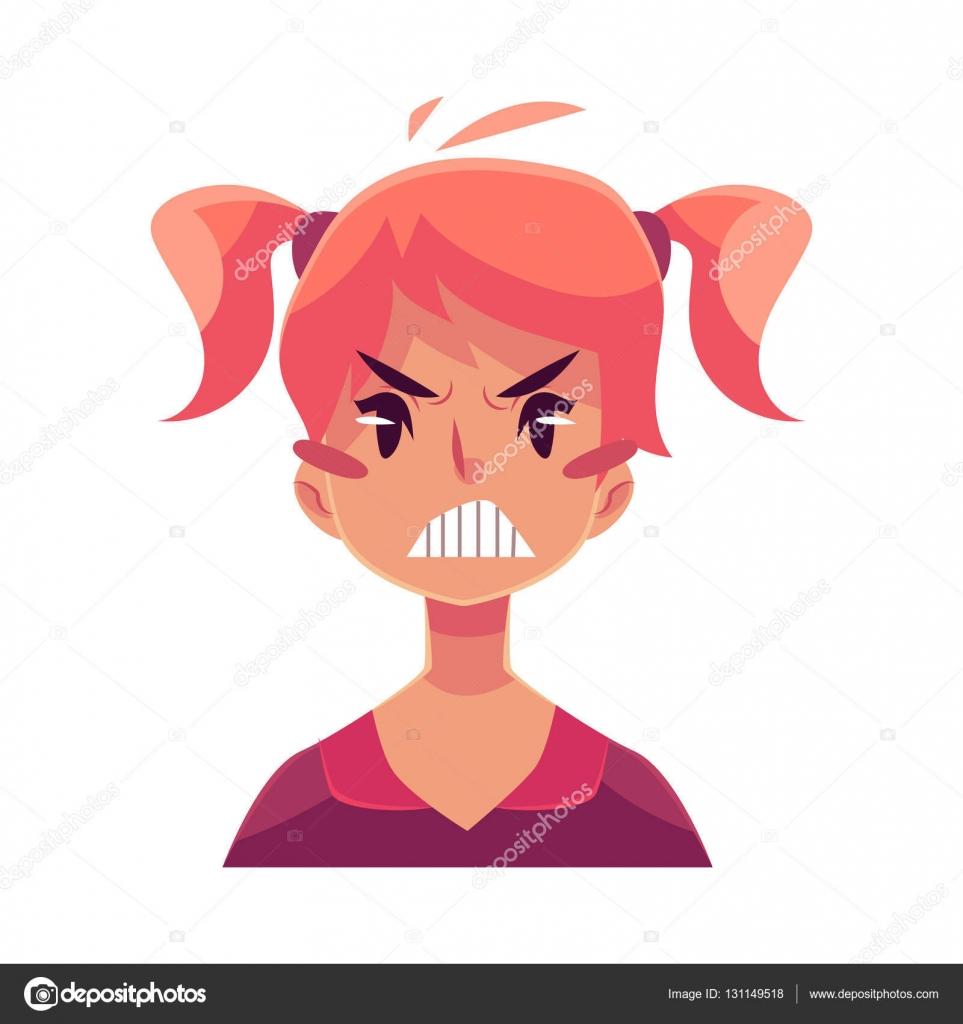 Genç Kız Yüzünü Kızgın Yüz Ifadesi Stok Vektör Sabelskaya