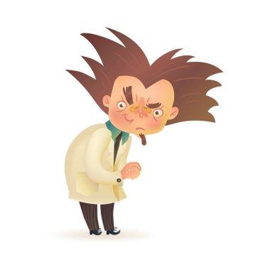 Evil mad professor with raised eyebrow in lab coat