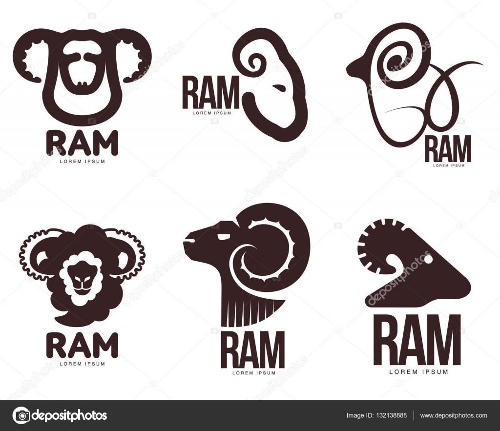 set of ram sheep lamb head graphic logo templates stock vector