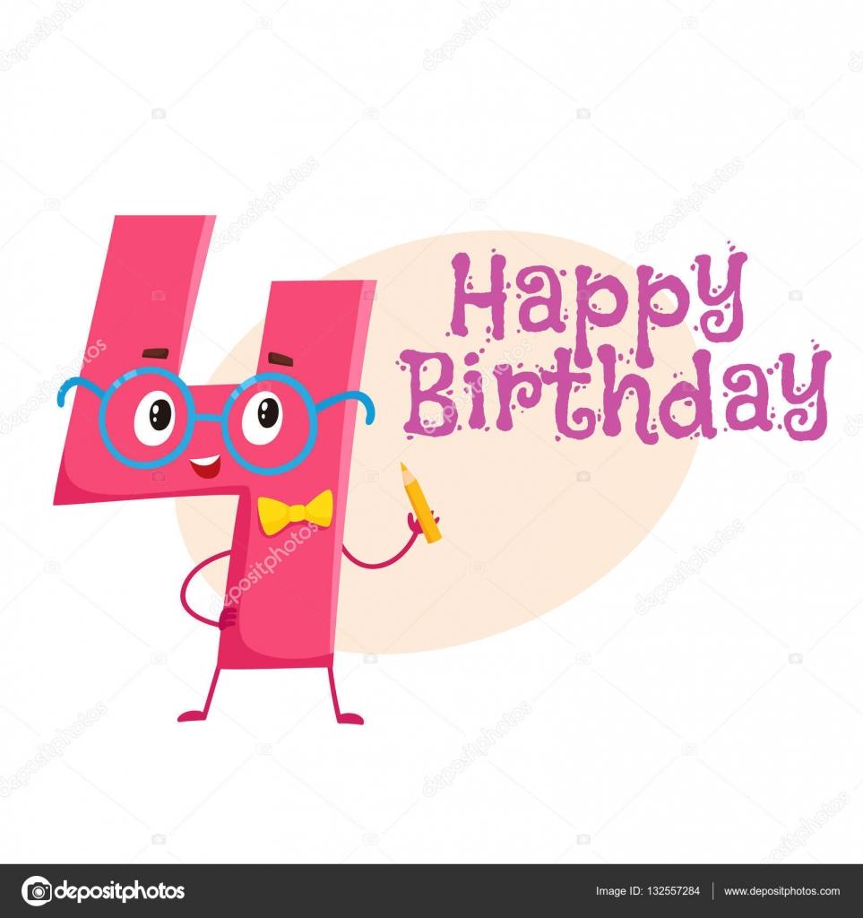 Happy birthday vector greeting card design with four number happy birthday vector greeting card design with four number characters stock vector m4hsunfo