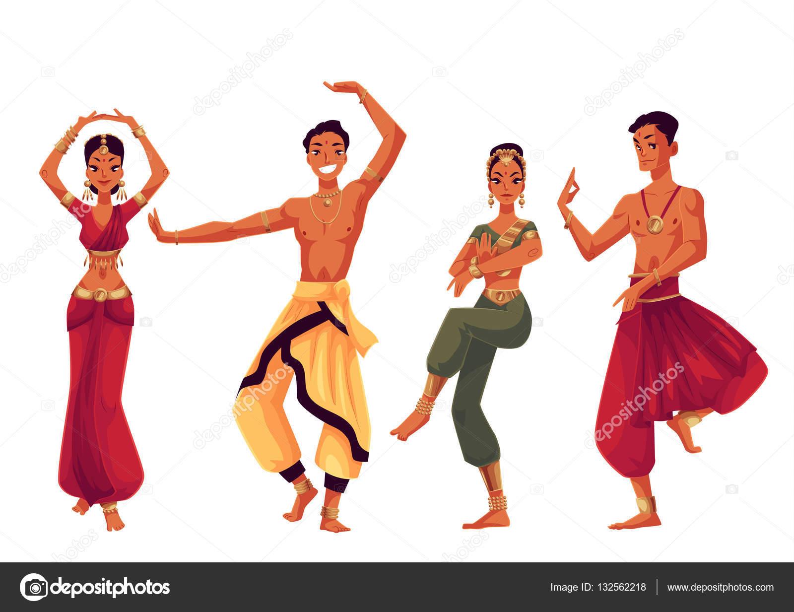 Hombres y mujeres bailarines indios en tradicionales trajes nacionales —  Vector de stock 62f9e56276b