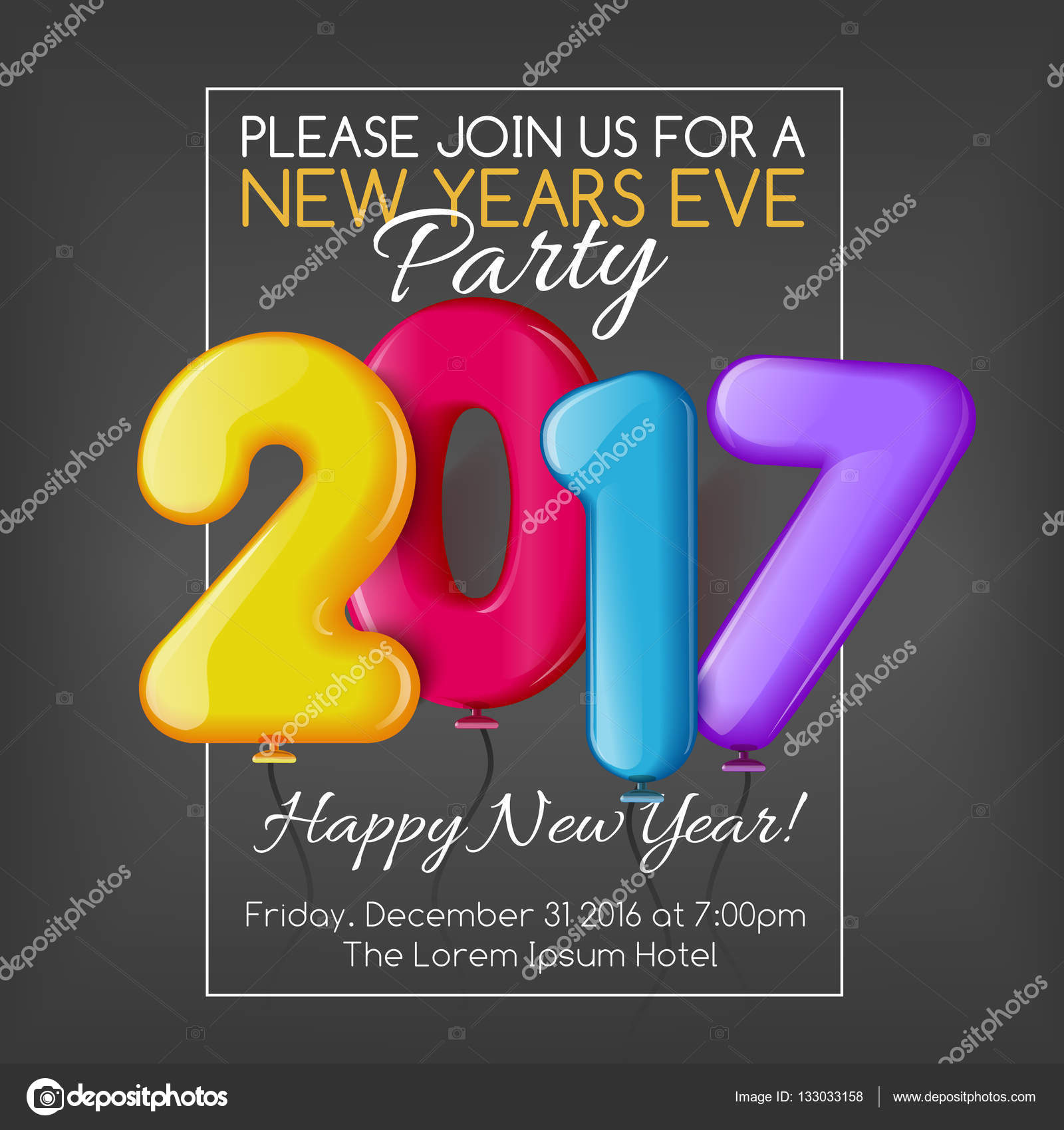 merry christmas and happy new year 2017 party invitation template