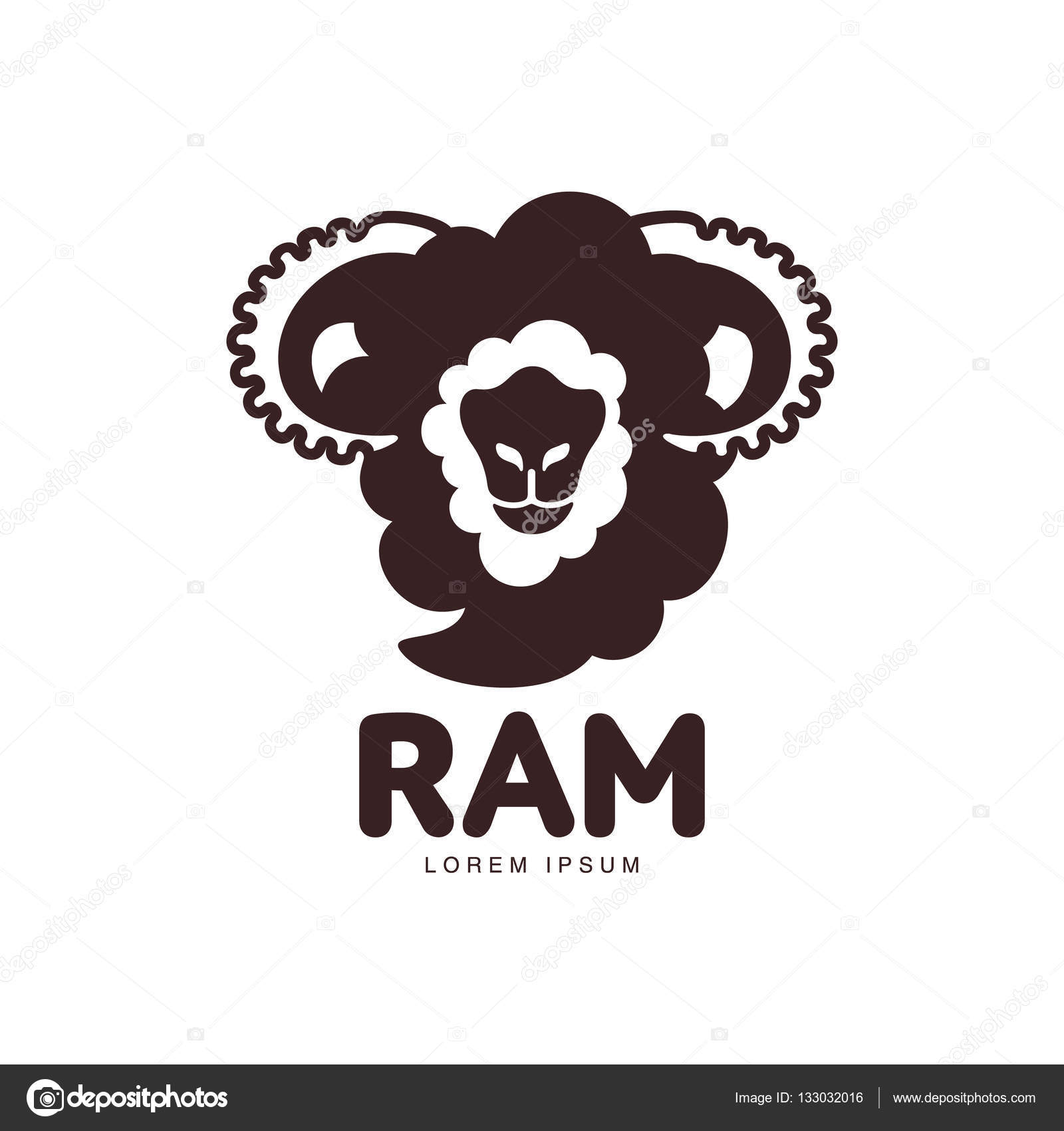 Front view silhouette ram, sheep, lamb head graphic logo template ...