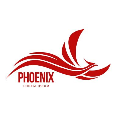 Stylized graphic phoenix bird flying with expanded wings logo template