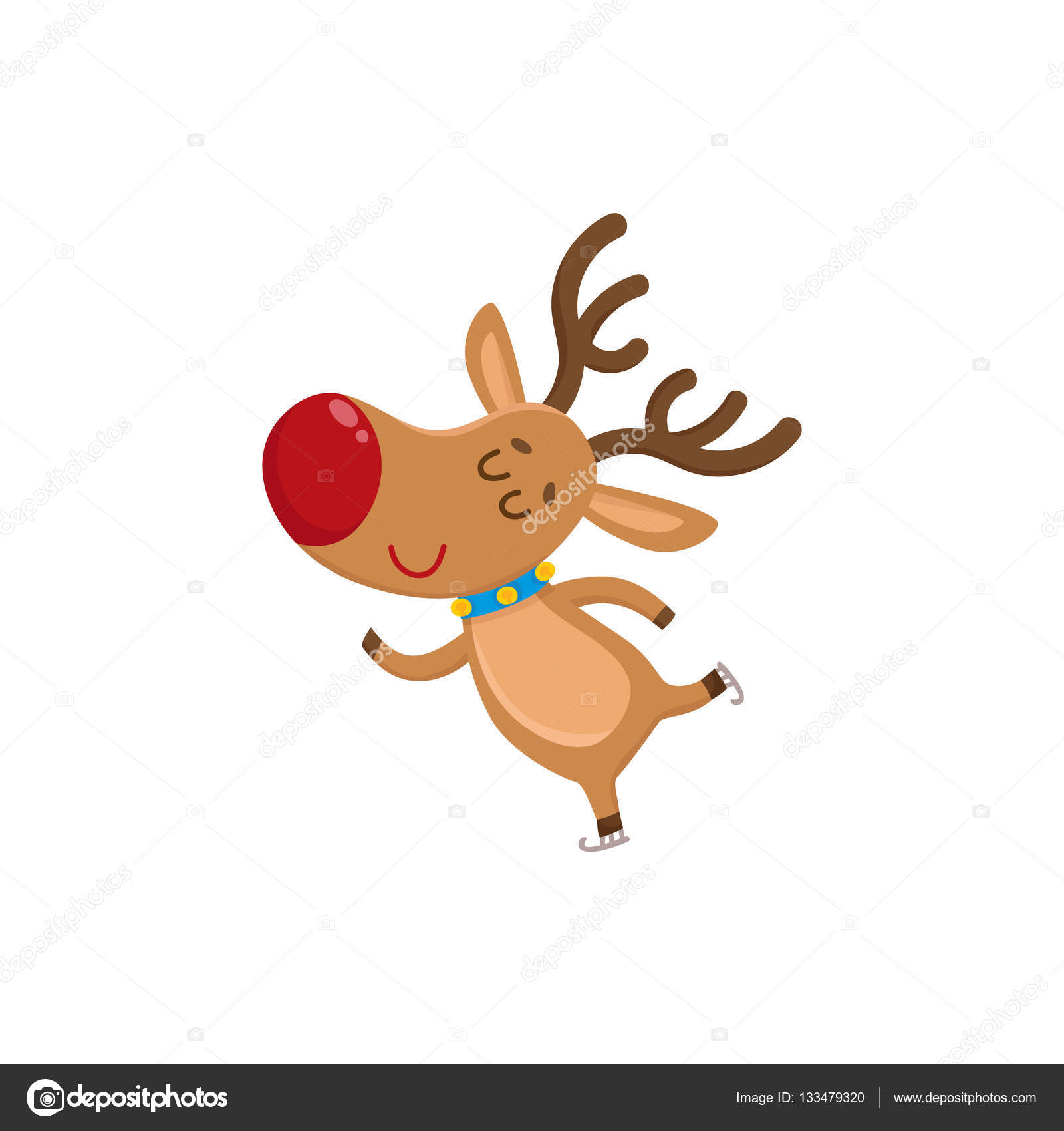 Cute And Funny Christmas Reindeer Ice Skating Happily Cartoon Vector Illustration Isolated On White Background Red Nosed Deer