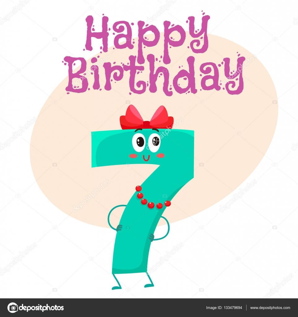 Happy birthday vector greeting card design with seven number happy birthday vector greeting card design with seven number characters stock vector 133479694 kristyandbryce Gallery