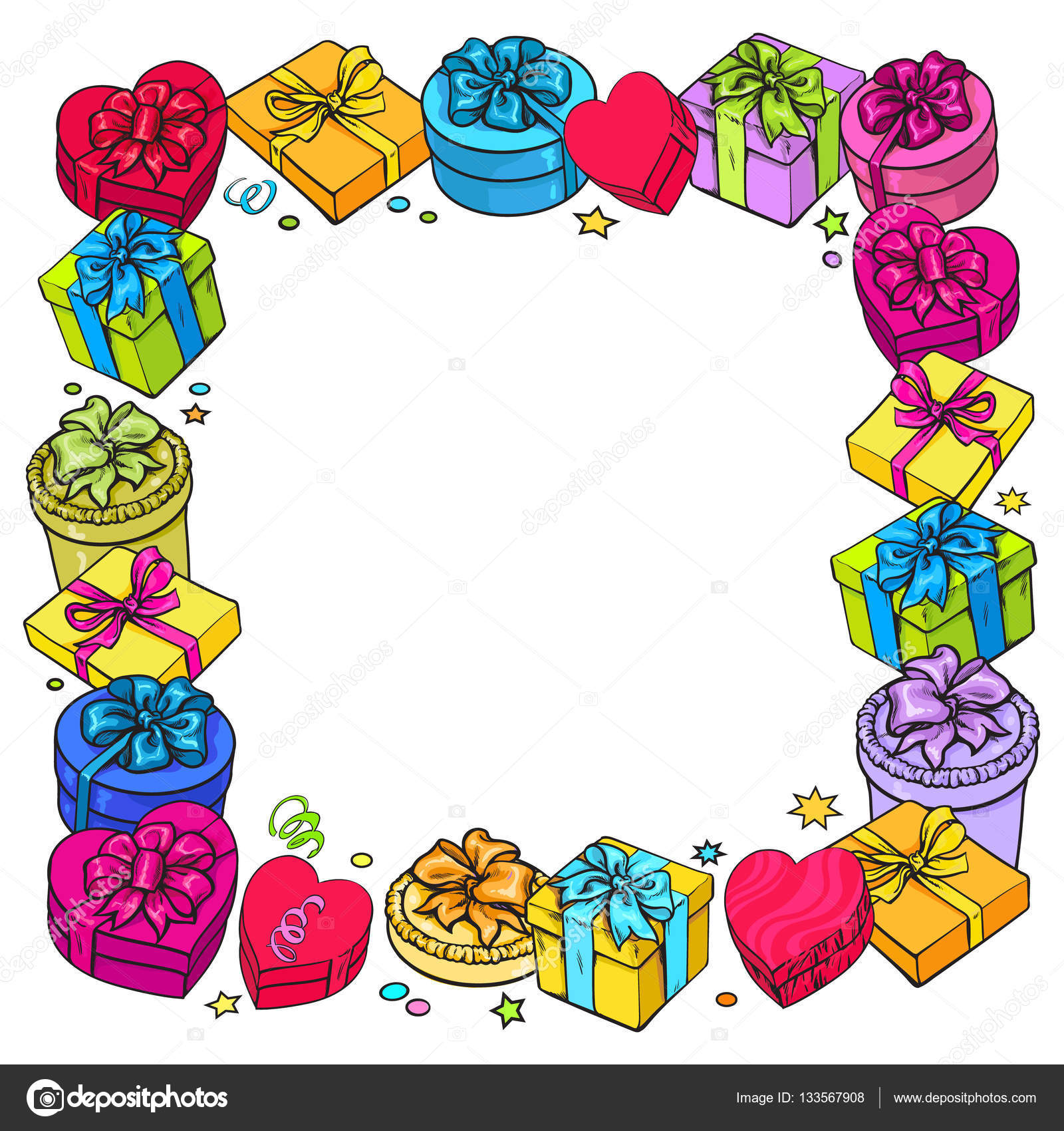 Greeting Card Template With Frame Of Gift And Present Boxes Stock