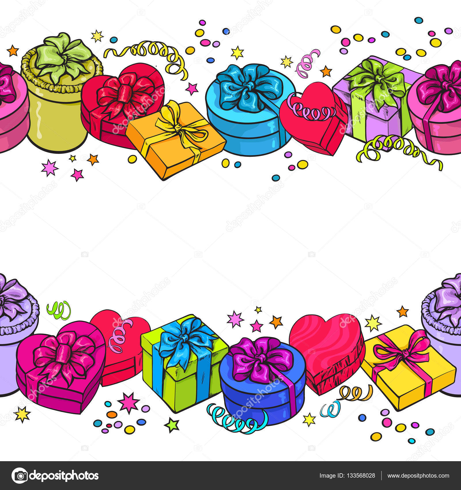 Greeting Card Template With Endless Border Of Present Boxes Stock