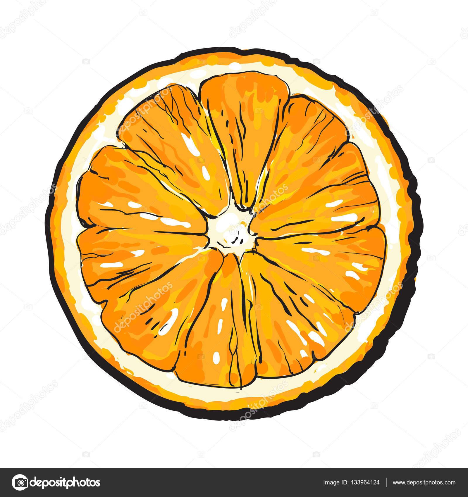 Colorful main dessin e rond tranche d orange avec la - Pelure d orange pour parfumer ...