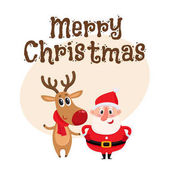 Photo Funny Santa Claus and reindeer in red scarf standing together