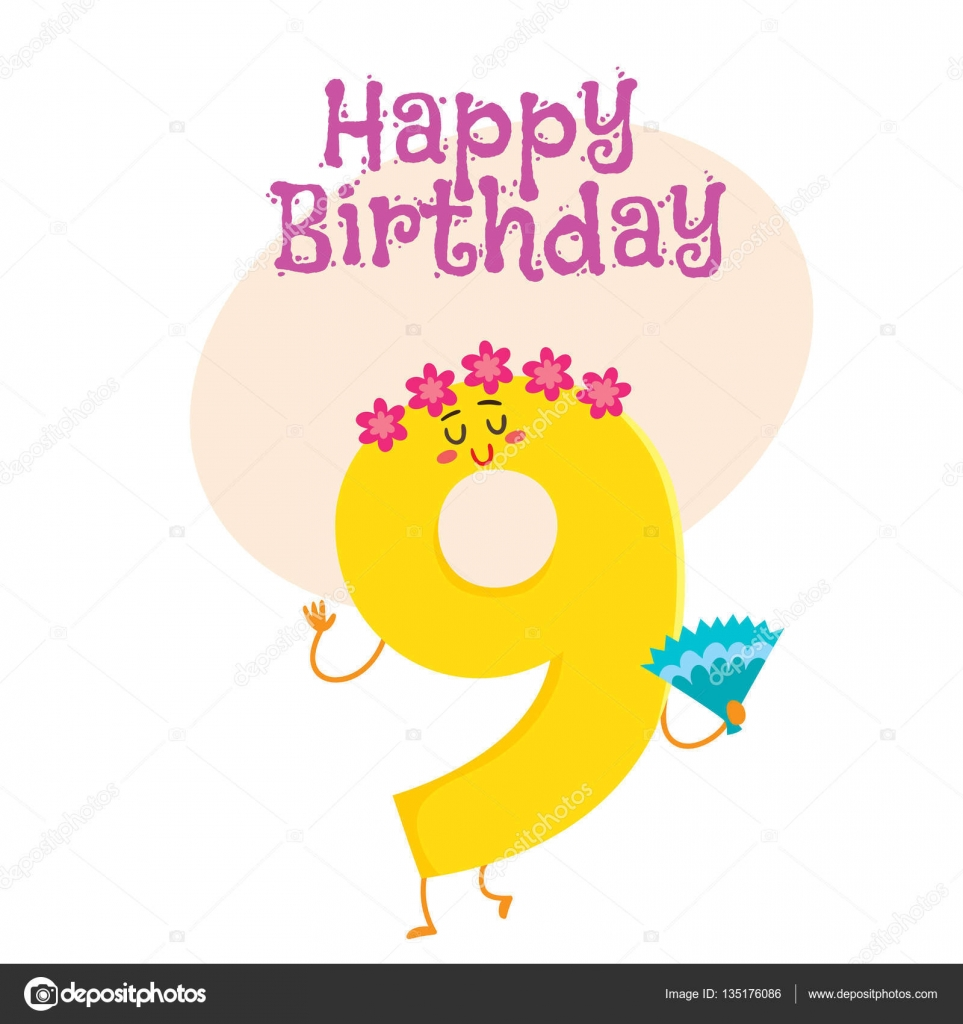 Happy Birthday Vector Greeting Card Design With Nine Number
