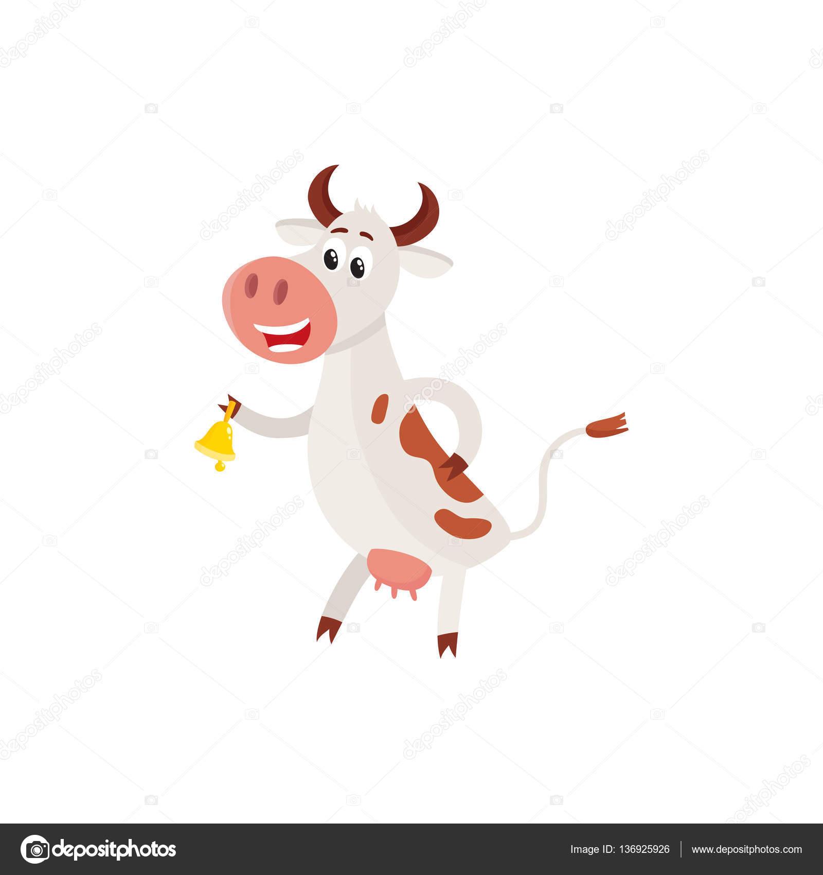 Gefleckte Kuh auf den Hinterbeinen stehend und läuten einer Glocke ...