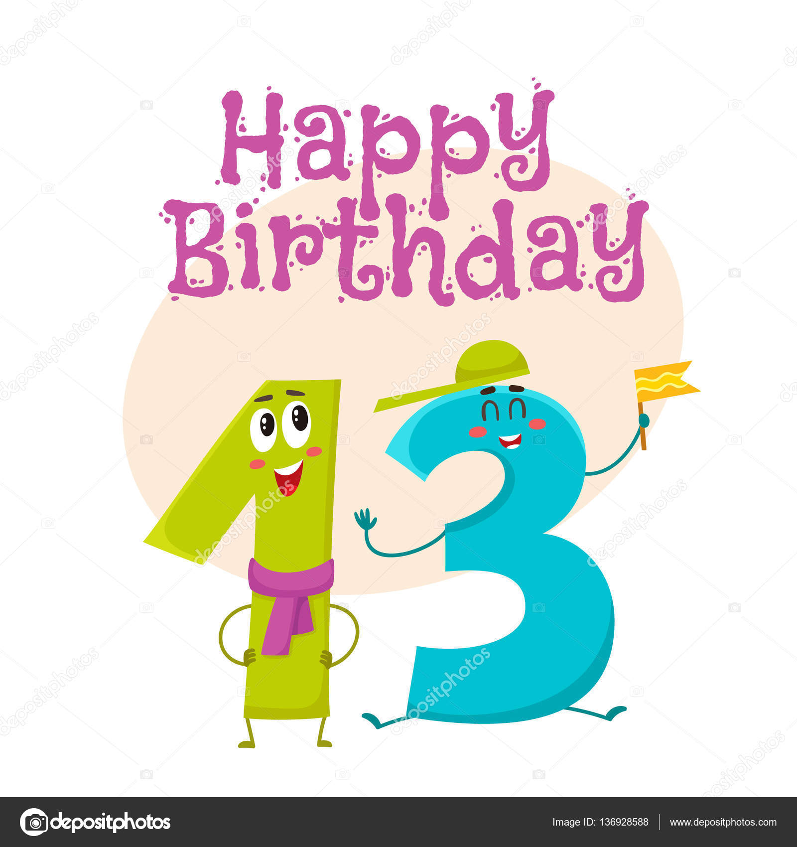 Happy birthday vector greeting card design with thirteen number happy birthday vector greeting card design with thirteen number characters stock vector kristyandbryce Gallery