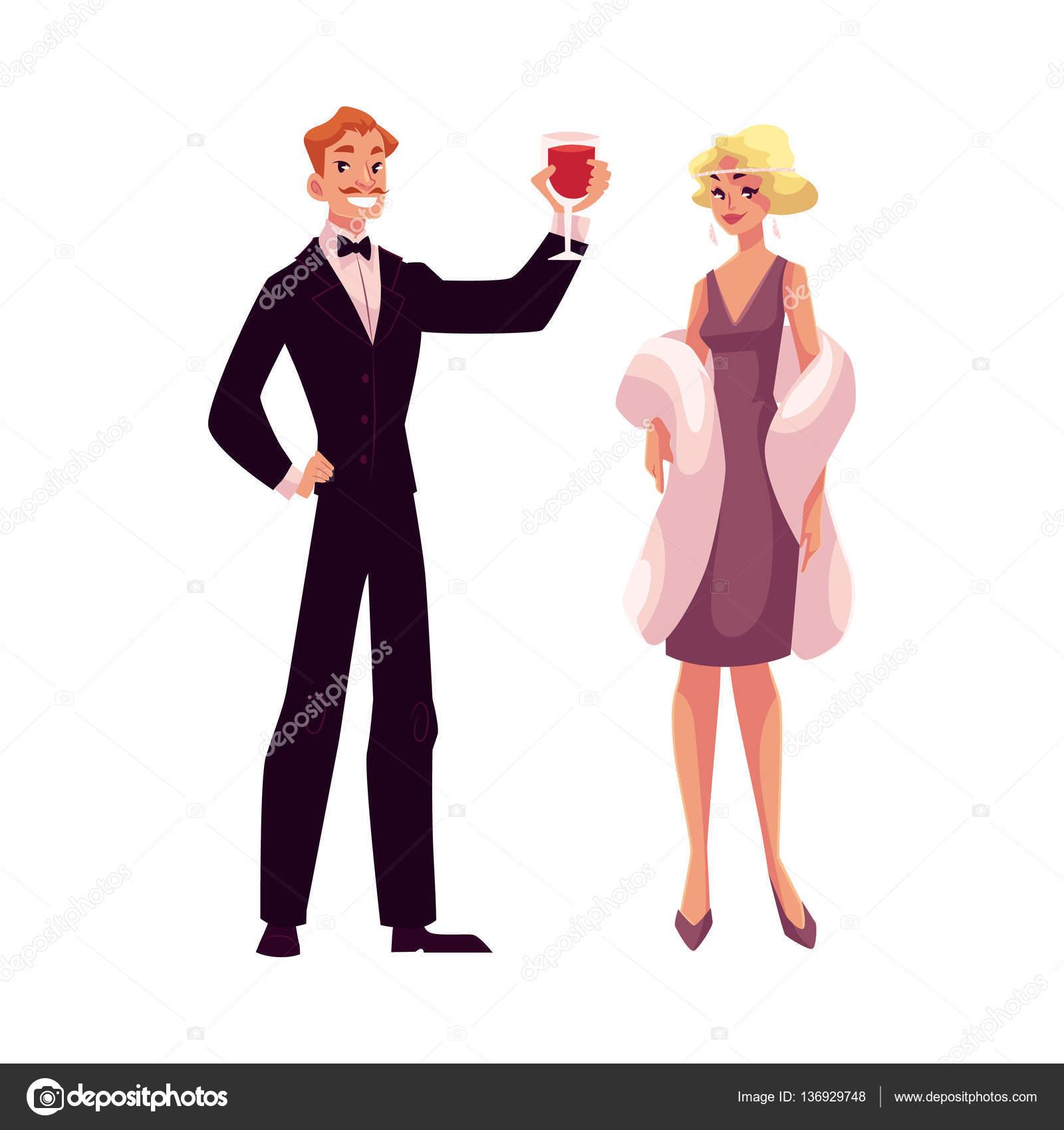 Mann und Frau der 1920er Jahre Stil Kleidung auf Vintage party ...