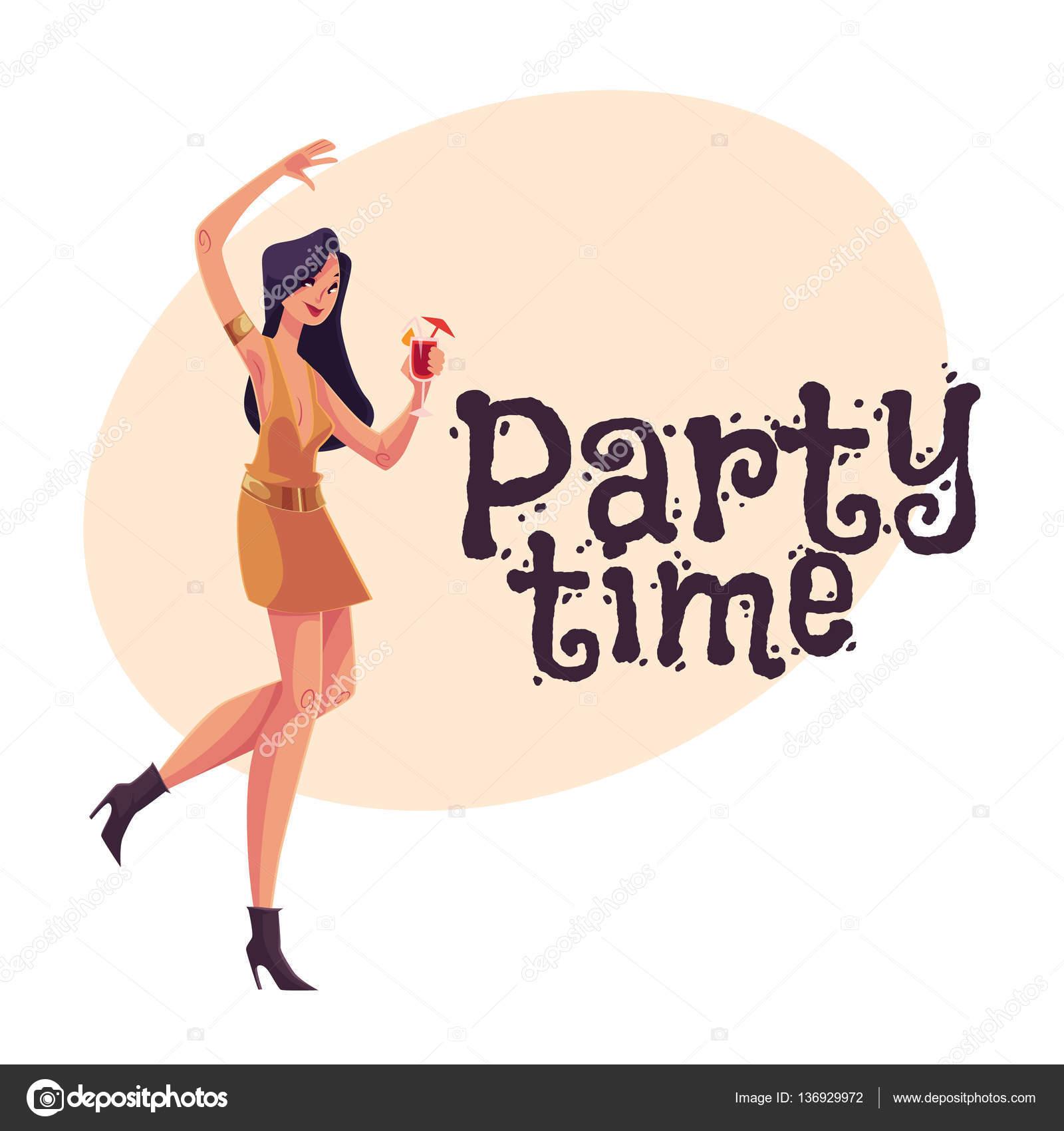 Clubber jeune jeune fille en robe courte danse avec le verre à ...