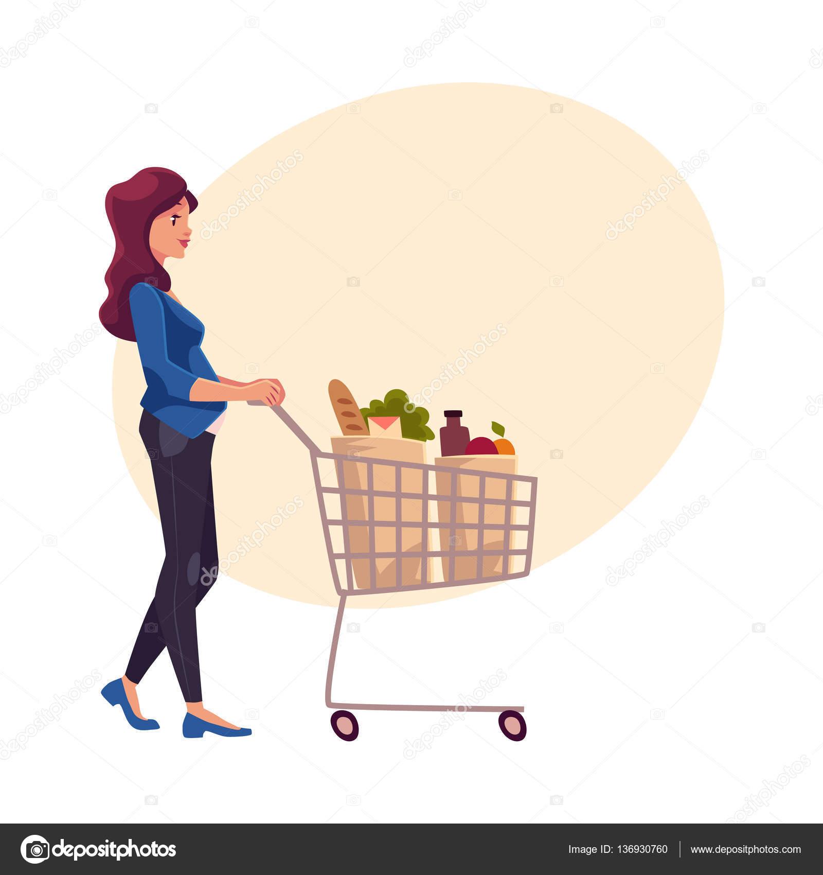 Joven mujer embarazada empujando el carrito de la compra - Carrito dela compra ...