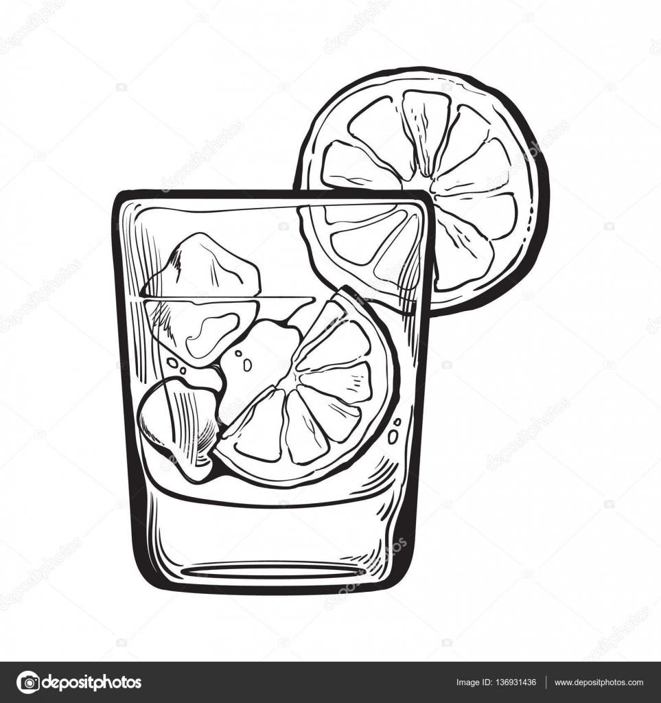 Imágenes Vodka Para Colorear Vaso De Gin Vodka Agua De Soda Con