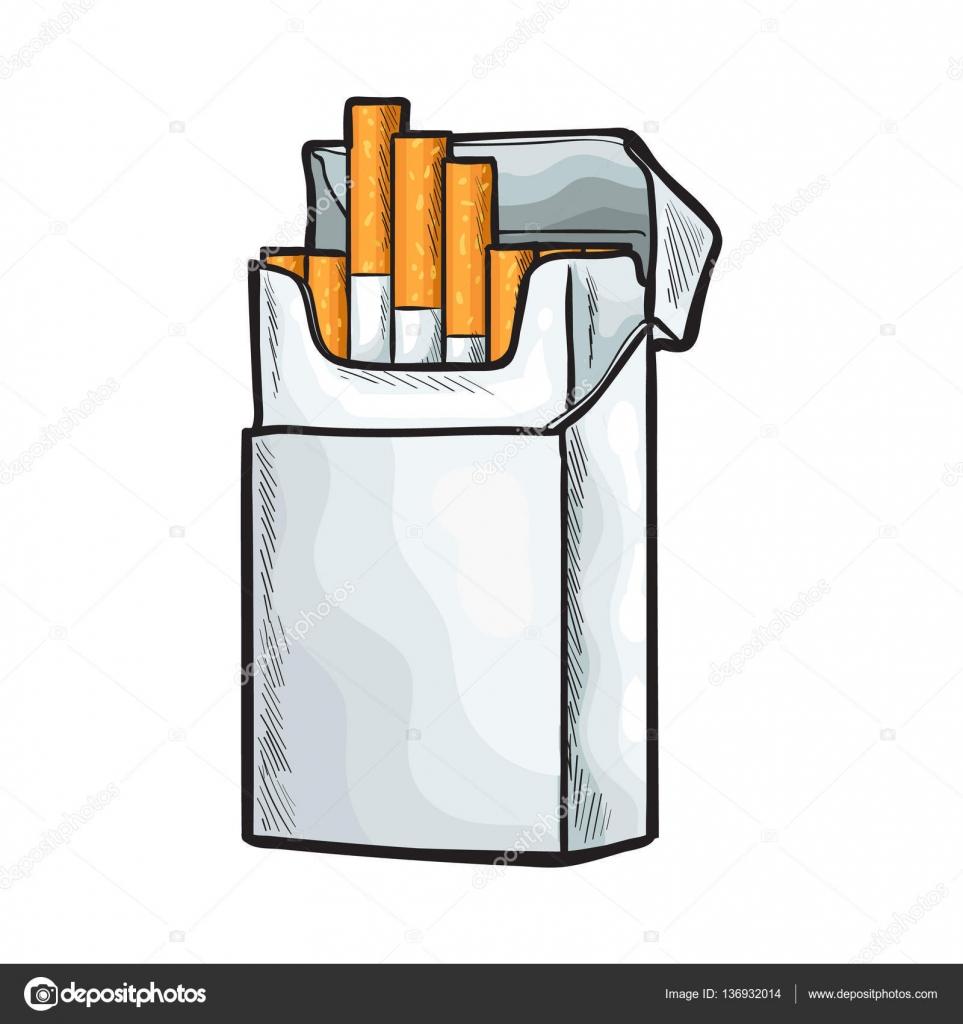 Dessin Paquet De Cigarette debout sans étiquette ouvrir le paquet de cigarettes, illustration