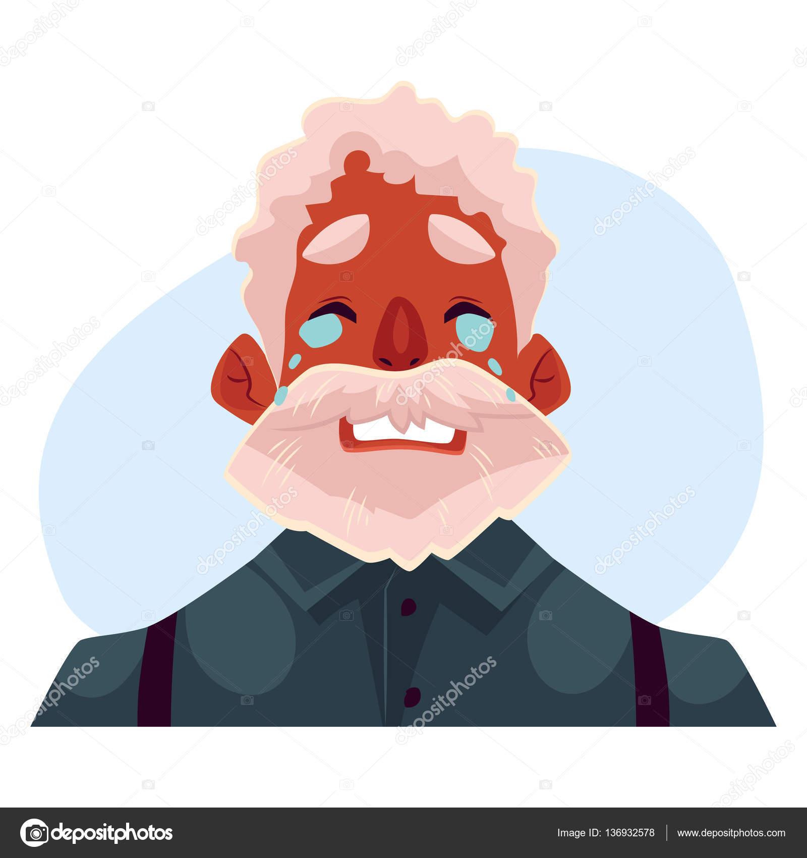 灰色髪アフリカ老人の顔泣いている顔の表情 ストックベクター