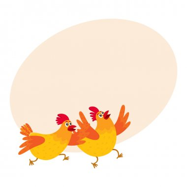Two funny cartoon orange chickens, hens rushing, hurrying somewhere