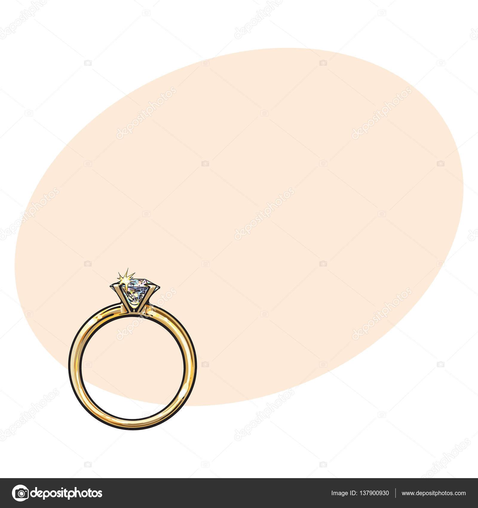 Anillo de compromiso oro con un diamante brillante grande — Vector ...