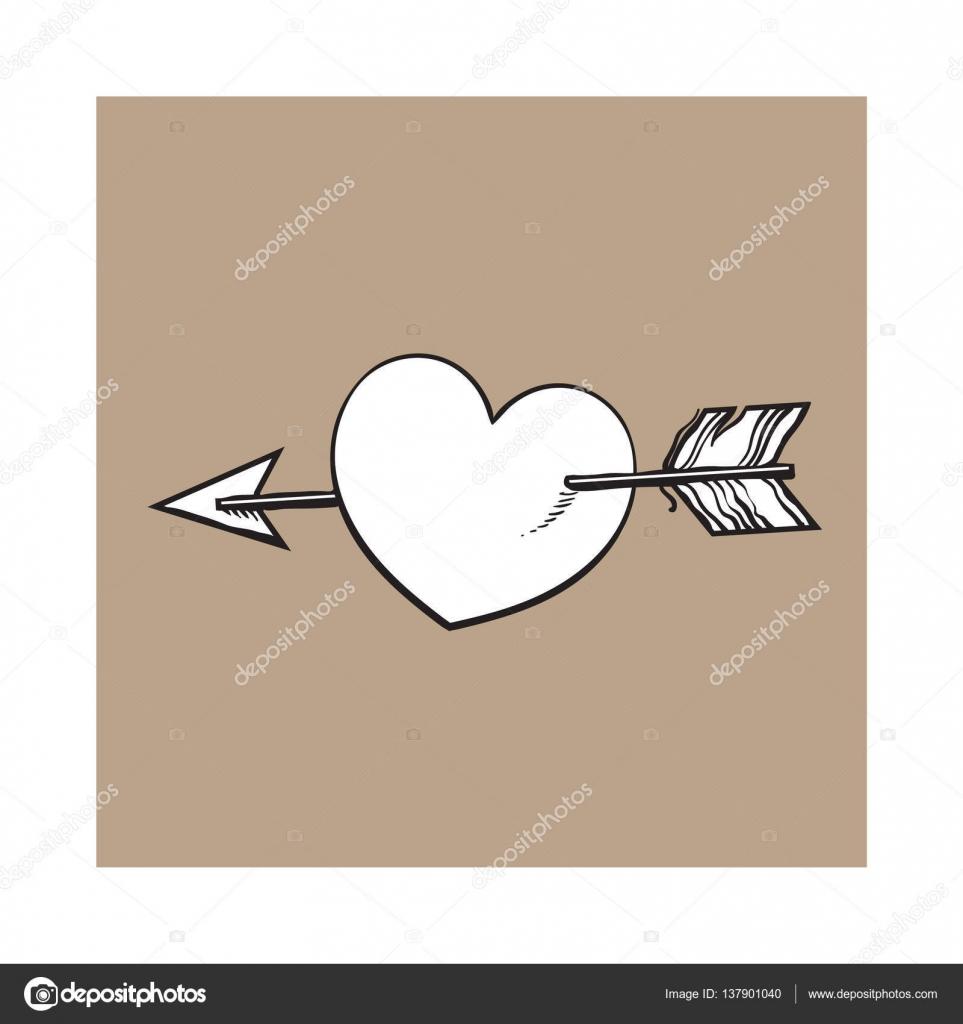 coeur dessin anim brillant reconstitu par la fl che de cupidon symbole de l amour image. Black Bedroom Furniture Sets. Home Design Ideas