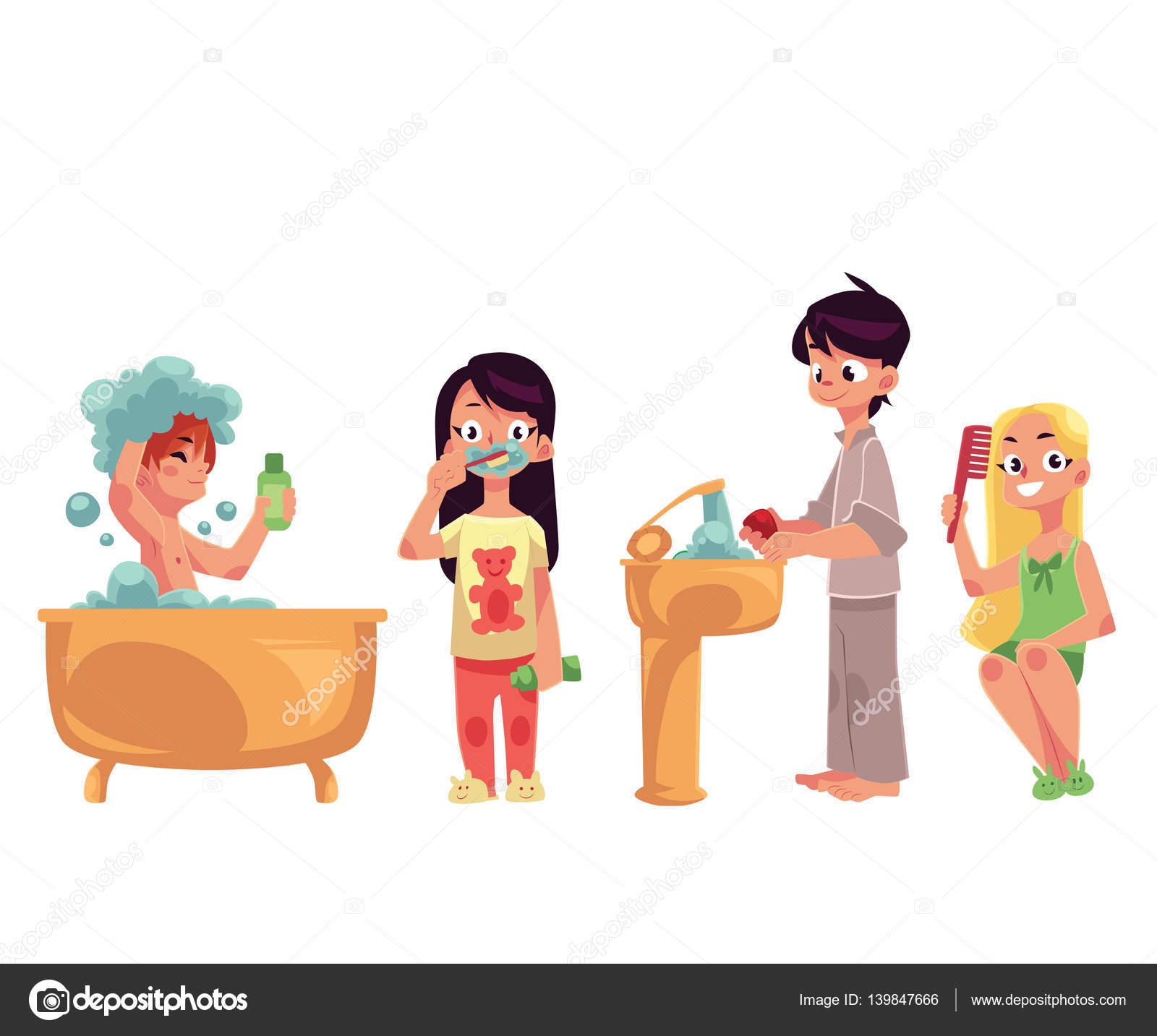 good kinder kinder bad zhne putzen waschen sie hnde haare