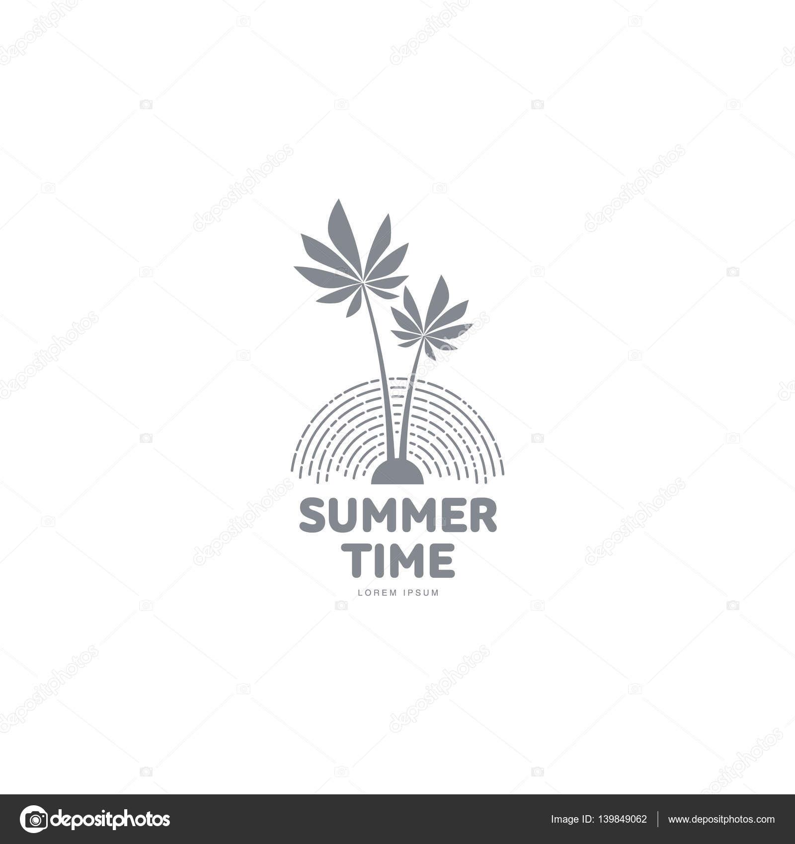 black and white logo template with two palm trees u2014 stock vector