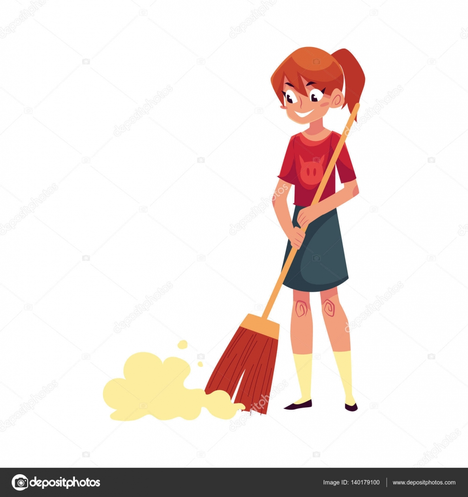Teenage girl helping to clean house sweeping floor with for Aider a la maison