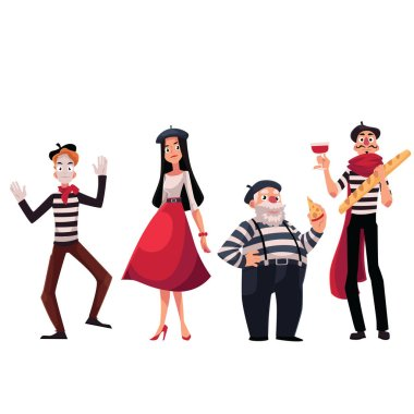 French people, mimes holding cheese, baguette, wine, symbols of France