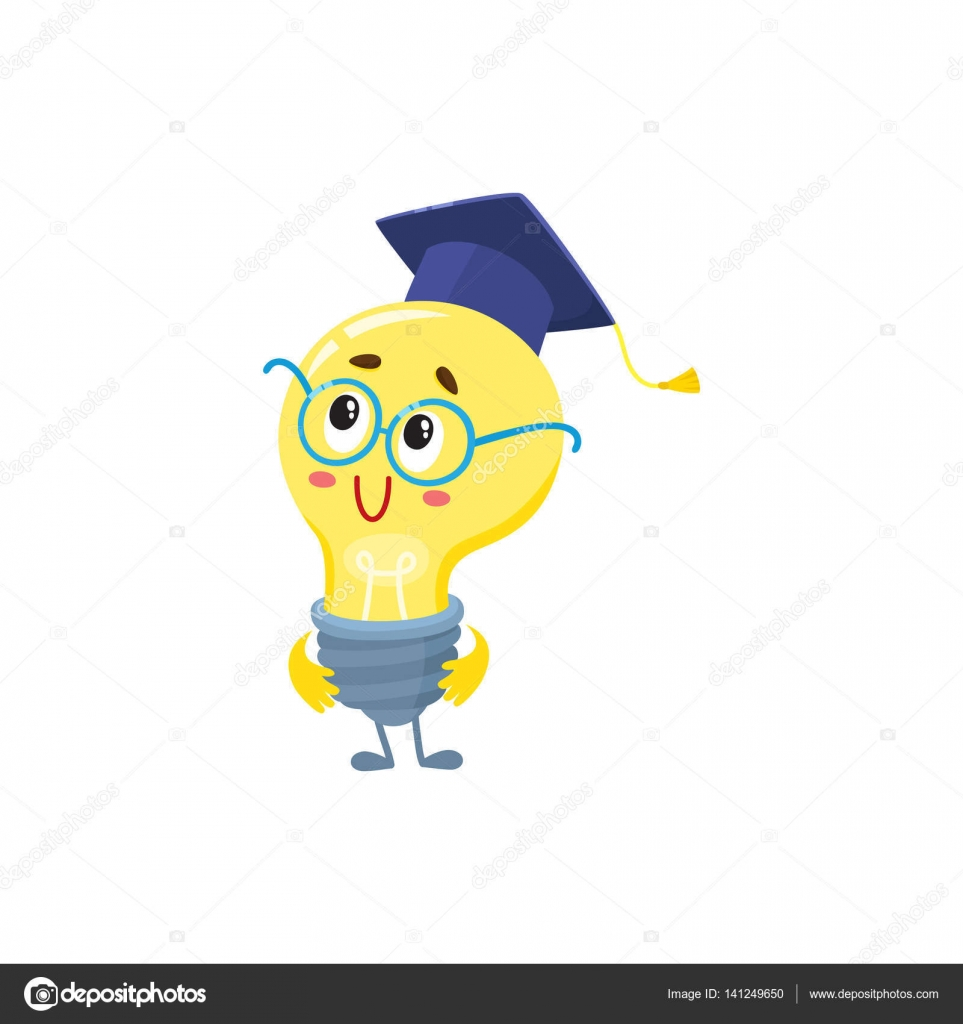cute light bulb character wearing round glasses and graduation cap