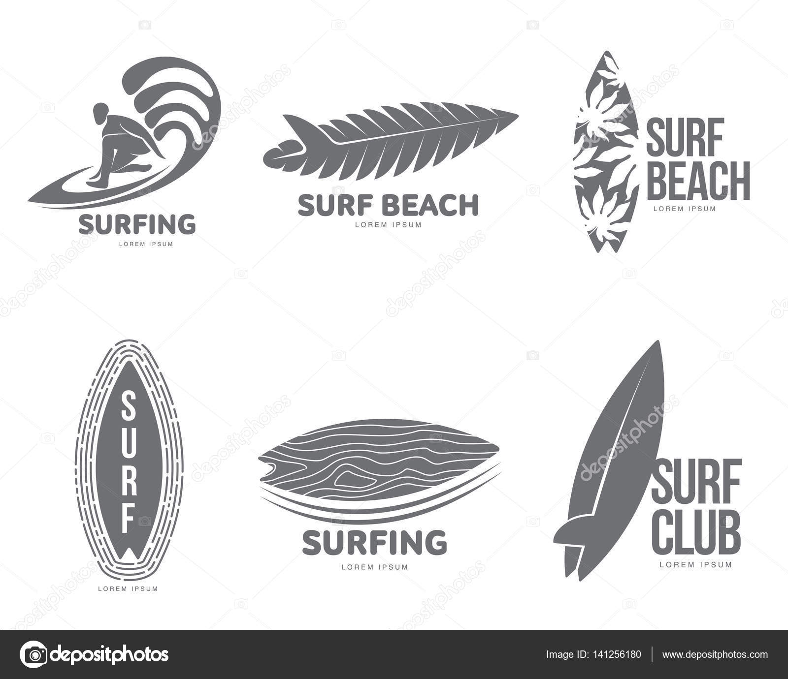 set of graphic surfing logo templates with surfer and surfboard