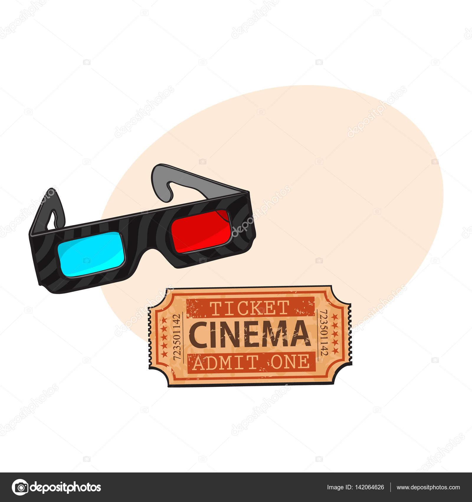 Vendita di liquidazione genuino scarpe da corsa Blu-rosso stereoscopico, occhiali 3d e cinema, biglietto del ...