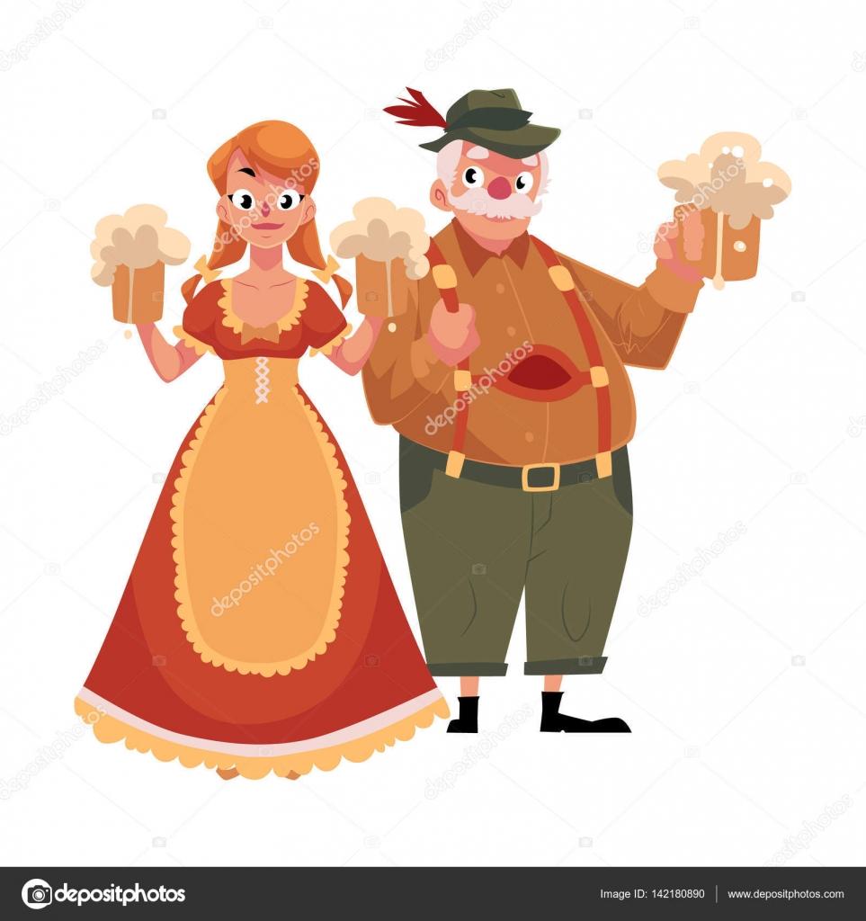 Hombre y mujer en traje tradicional de Oktoberfest bávaro alemán ... 67317b2be59