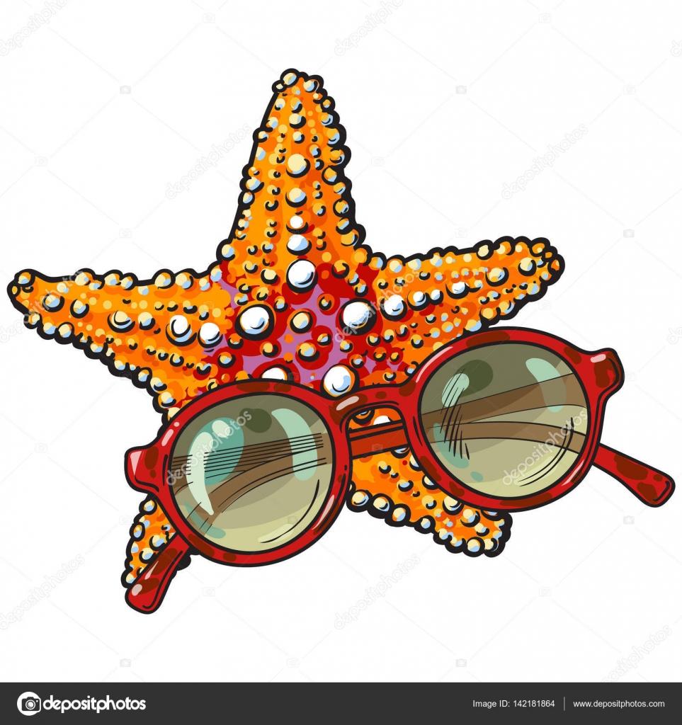 Hand gezeichnete Seestern und Runde Sonnenbrille in roten Kunststoff ...