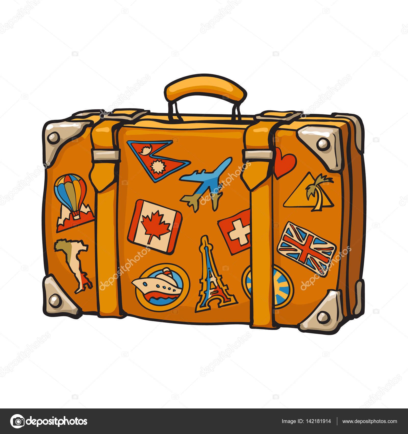 hand getekende retro stijl reizen koffer met kleurrijke etiketten stockvector sabelskaya. Black Bedroom Furniture Sets. Home Design Ideas