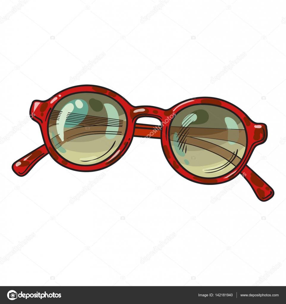 Modische Runde Sonnenbrille in roten Kunststoff-Rahmen, Sommer ...