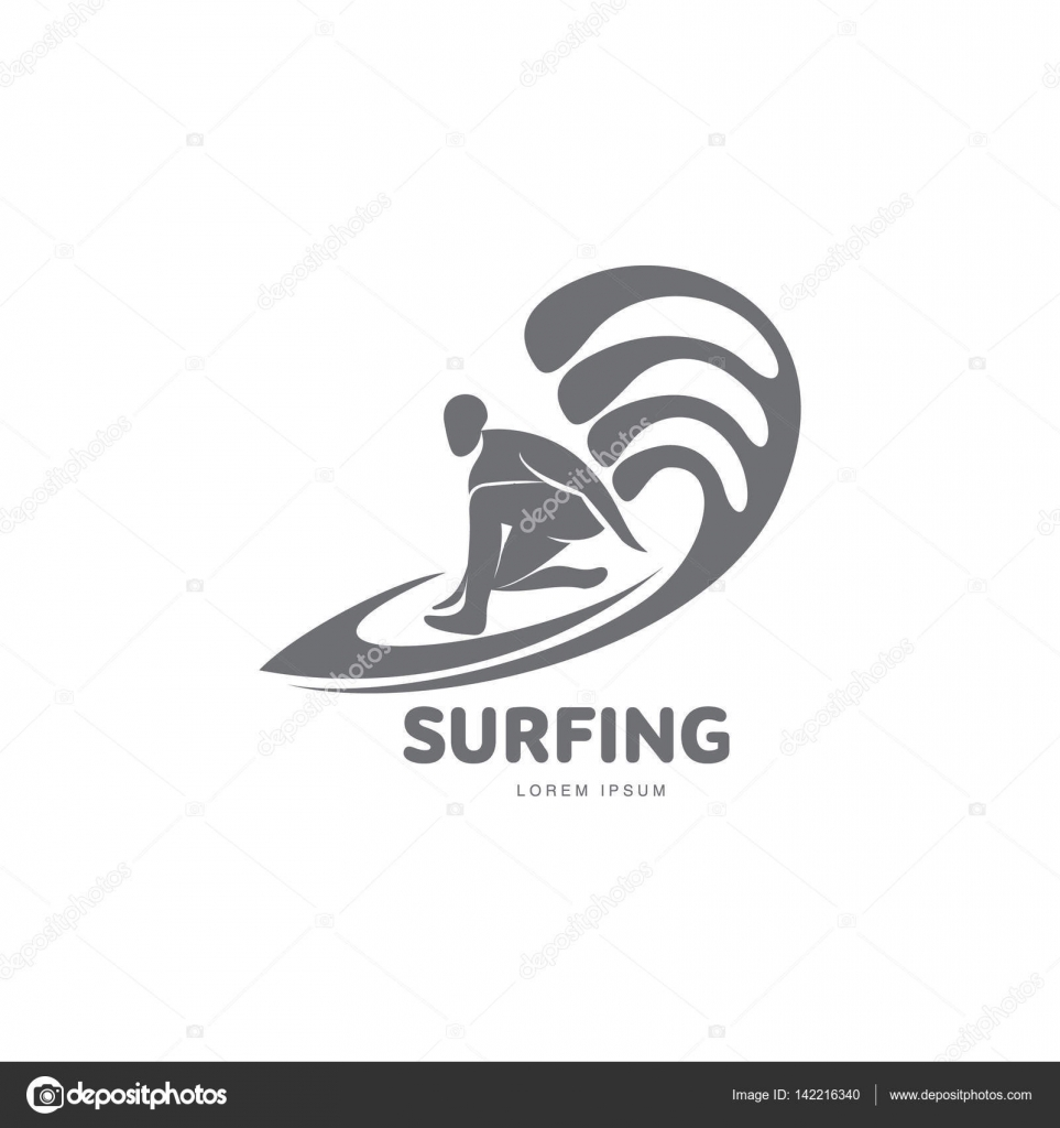 Graphic surfing logo template with surfer, surfboard and wave ...