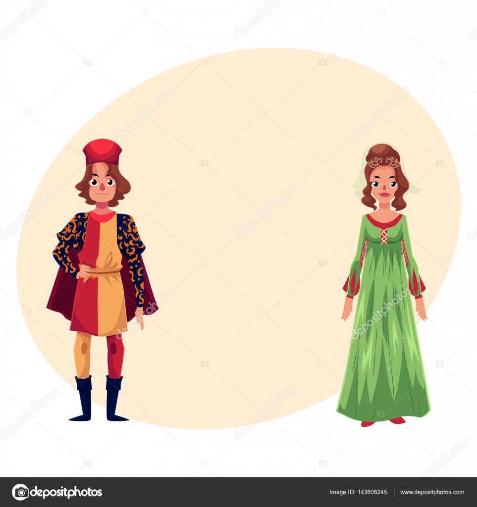 Italiaanse Kleding.Italiaanse Man En Vrouw In De Renaissance Tijd Kostuums Kleding