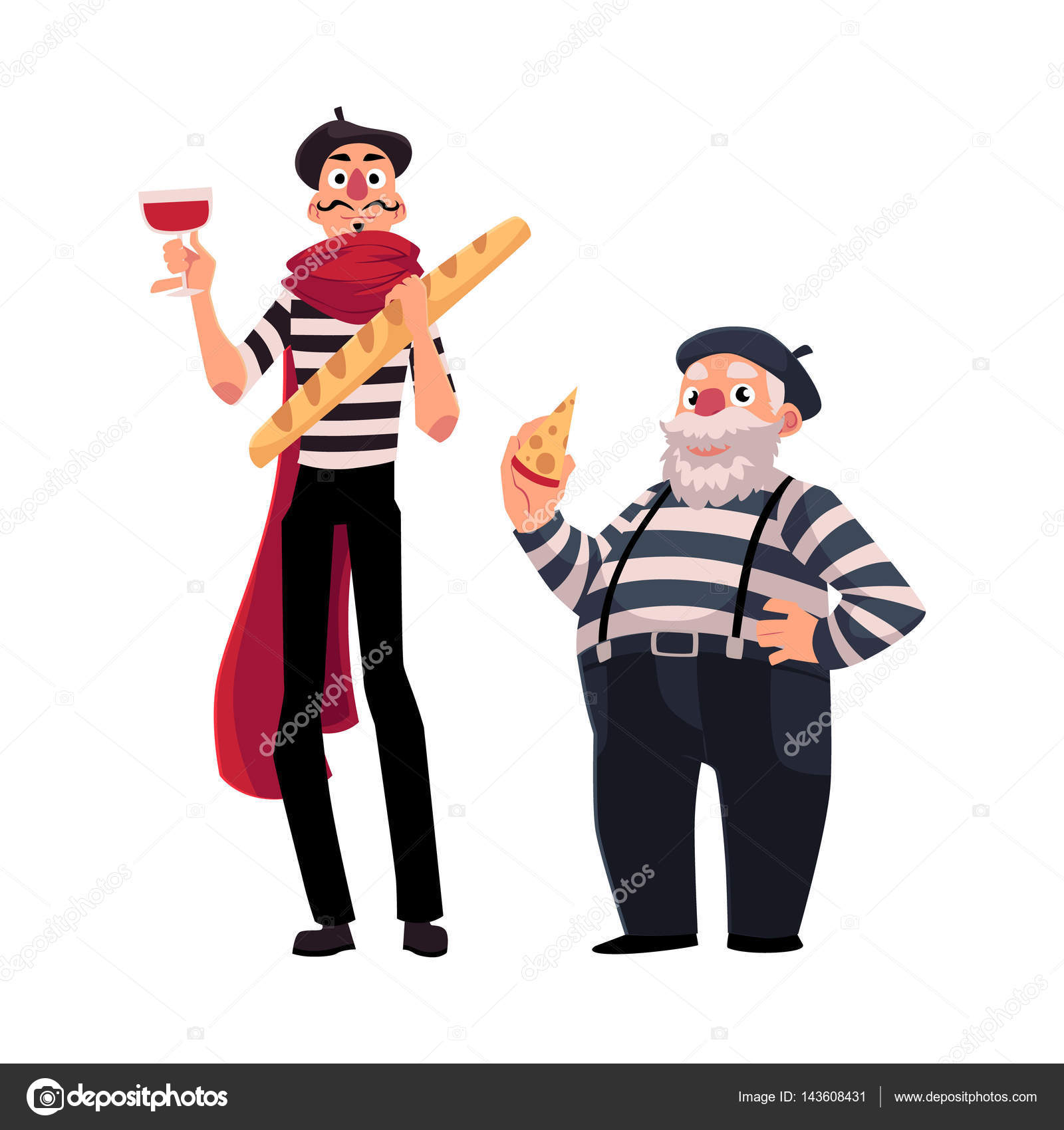 Two french mimes young and old with symbols of france stock two french mimes young and old with symbols of france stock vector biocorpaavc