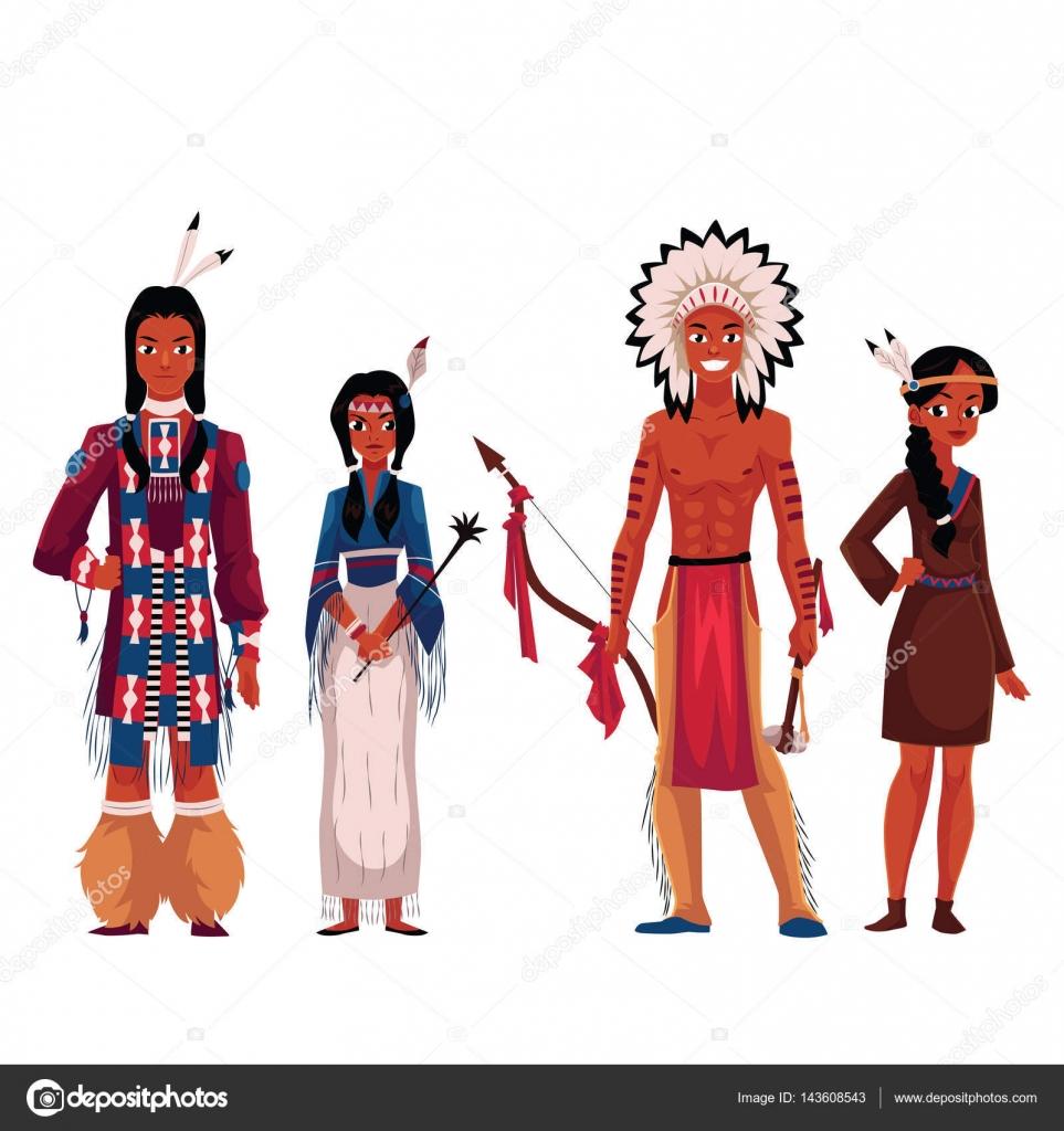 Indios americanos nativos, hombres y mujeres, en trajes típicos nacionales — Vector de stock