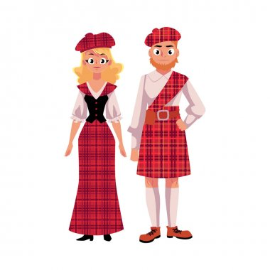 Scottish couple in traditional national costumes, tartan berets and kilts