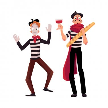 Two French mimes in traditional costumes, wine and baguette
