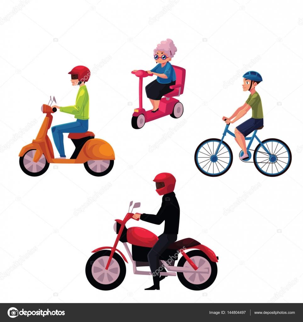 pessoas andando de bicicleta scooter moto estilo de vida urbano